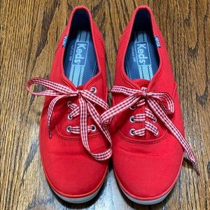 Keds red shoes with red & white gingham laces